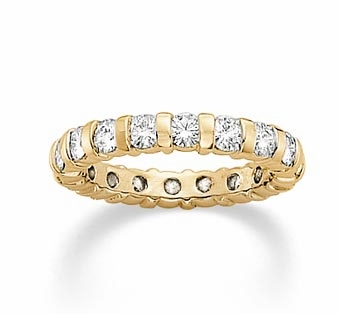 Round Channel Set Bar Set Cubic Zirconia Eternity Band