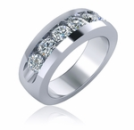 Hogan Round Channel Set Cubic Zirconia Mens Ring Wedding Band