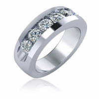 Round Channel Set Cubic Zirconia Mens Ring Wedding Band