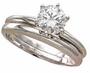 Round Classic Cubic Zirconia Solitaire Engagement Rings with Matching Wedding Bands