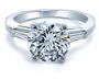 Round Cubic Zirconia Baguette Solitaire Engagement Rings