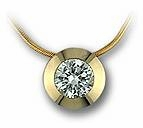 Round Cubic Zirconia Bezel Set Pendant with Snake Chain