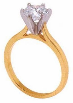 Round Cubic Zirconia Cathedral Solitaires