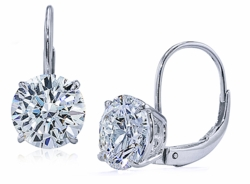 Round Cubic Zirconia Leverback Stud Euro Wire Earrings