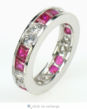 Round Cubic Zirconia Princess Cut Man Made Ruby Channel Set Eternity Band