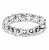 Round Shared Common Prong Set Cubic Zirconia Eternity Bands in 14K Gold, 18K Gold and Platinum