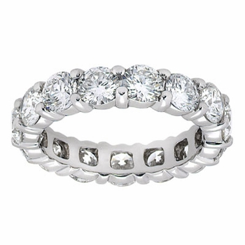 Round Shared Prong Set Cubic Zirconia Eternity Bands in 14K Gold, 18K Gold and Platinum