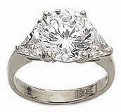 Round with Trillions Three Stone Cubic Zirconia Engagement Rings
