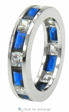 Roxie Baguette and Princess Cut Channel Set Cubic Zirconia Eternity Band