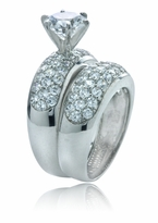 Roxy Cubic Zirconia Pave and Round Wedding Set