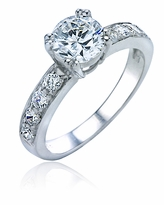 Royal Crown 1 Carat Round Double Prong Cubic Zirconia Pave Solitaire Engagement Ring