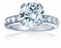 Royal Crown 2.5 Carat Round Double Prong Cubic Zirconia Pave Solitaire Engagement Ring