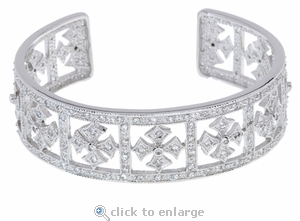 Royal Crown Pave Cubic Zirconia Maltese Cross Cuff Bracelet