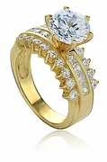 Ruth Round Cubic Zirconia Princess Cut Engagement Ring
