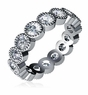 Sabina Bezel Set Round Beaded Cubic Zirconia Eternity Wedding Band