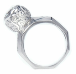 Sabra 1.25 Carat Bezel Set Round Cubic Zirconia Engraved Solitaire Ring