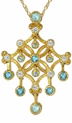 Sachia Simulated Blue Diamond Look Cubic Zirconia Chandelier Pendant