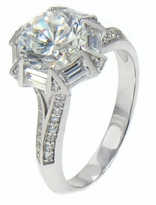 Sarafina 2 Carat Round Cubic Zirconia Baguette Pave Cathedral Split Shank Solitaire Engagement Ring