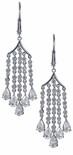Saratoga Cubic Zirconia Pear and Round Chandelier Lever Back Style Earrings