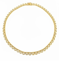 Sarento Graduated Prong Set Round Cubic Zirconia Scalloped Tennis Necklace
