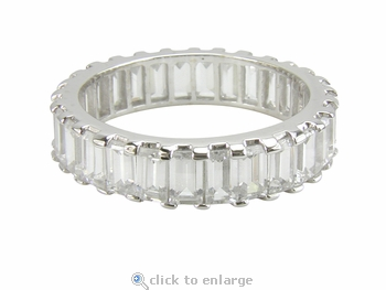 Sattera Shared Prong Set Baguette Cubic Zirconia Eternity Band