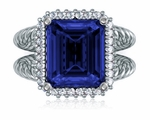 Saturnia 5.5 Carat Emerald Cut Cubic Zirconia Twisted Rope Halo Split Shank Engagement Ring