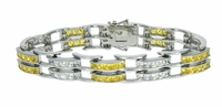 Saxony Duo Channel Set Princess Cut Cubic Zirconia Bracelet