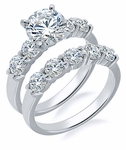 Scalloped 1.5 Carat Round Cubic Zirconia Prong Set Bridal Set