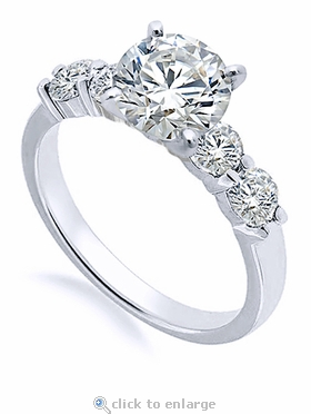 Scalloped 1.5 Carat Round Cubic Zirconia Solitaire Engagement Ring