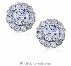 Scalloped 1 Carat Each Cubic Zirconia Round Halo Cluster Studs