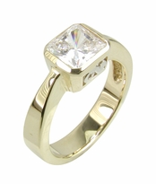 Scriptia 1.5 Carat Princess Cut Radiant Cubic Zirconia Square Bezel Set Solitaire Engagement Ring