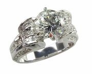 Scroll 2 Carat Round Cubic Zirconia Pave Solitaire Engagement Ring