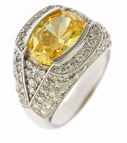 Seeker 4 Carat Oval Canary Cubic Zirconia Semi Bezel Pave Ring