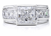 Semi Bezel Channel Set 2.5 Carat Princess Cut Cubic Zirconia Man's Ring
