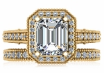 Senty Emerald Cut 2.5 Carat Halo Pave Cathedral Solitaire Engagement Ring