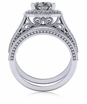 Senty Oval 2.5 Carat Cubic Zirconia Cathedral Pave Halo Bridal Set