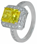 Sequoia 1.5 Carat Emerald Cut Canary Cubic Zirconia Pave Halo Engagement Ring