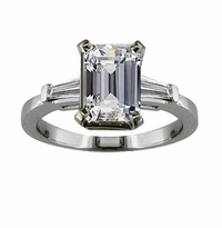 Sex And The City Charlotte 2.5 Carat Emerald Step Cut Cubic Zirconia Baguette Solitaire Engagement Ring