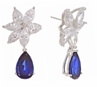 Sheffield 3 Carat Pear Lab Created Sapphire Cluster Cubic Zirconia Drop Earrings