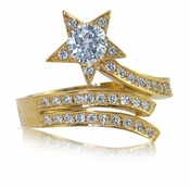 Shooting Star Round Pave Diamond Look Cubic Zirconia Ring
