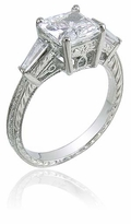 Simmons Engraved 1.5 Carat Princess Cut Cubic Zirconia Baguette Estate Solitaire Engagement Ring