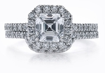 Simone 1 Carat Asscher Cut Cubic Zirconia Micro Pave Halo Wedding Set