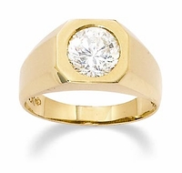 Simply Bezel Set 1.5 Carat Round Cubic Zirconia Mens Ring