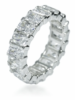 Sinclair .50 Carat Each Emerald Radiant Cut Shared Prong Eternity Band in 14k White Gold