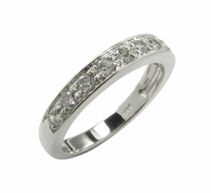 Single Row Pave Set Cubic Zirconia Round Anniversary Band