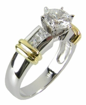 Single Row Two Tone 2 Carat Round Cubic Zirconia Channel Set Princess Cut Solitaire Engagement Ring