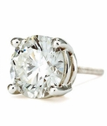 SINGLE STUD 1.5 Carat Round Basket Set Cubic Zirconia SCREWBACK Earring in 14K White Gold