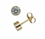 SINGLE STUD 1 Carat Round Bezel Set Cubic Zirconia Earring in 14K Yellow Gold