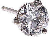 SINGLE STUD 1 Carat Round Three Prong Basket Set Cubic Zirconia Earring in 14K White Gold