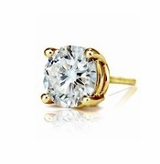 SINGLE STUD 2.5 Carat Round Basket Set Cubic Zirconia Earring in 14K Yellow Gold